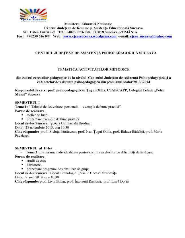 activitati metodice Cercurile pedagogice 2013-2014