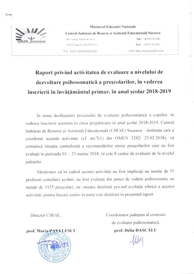 Raport de evaluare